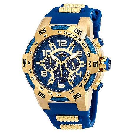 Relógio INVICTA 24232 Speedway 51mm Banhado a Ouro 18k Azul Cronógrafo Lançamento