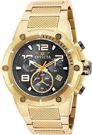 Relógio INVICTA 19530 Speedway 52mm Banhado a Ouro 18k Preto Cronógrafo Suíço