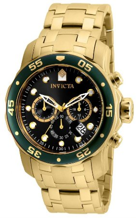 Relógio INVICTA 80074 Pro Diver 48mm Banhado a Ouro 18k cronógrafo Verde