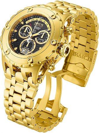 Relógio INVICTA 14468 Reserve Subaqua Suíço 52mm Banhado a Ouro 18k Cronógrafo Calendário Duplo