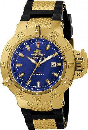 Relógio Invicta Subaqua Noma 3 1150 Banhado a Ouro 18k Original GMT Suíço Azul