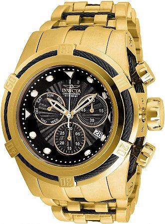 Relógio INVICTA 23912 Bolt Zeus Reserve 53mm Banhado a Ouro 18k  Preto cronógrafo Suíço Original
