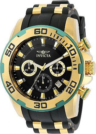 Relógio INVICTA 22347 Pro Diver 50mm Banhado a Ouro 18k cronógrafo