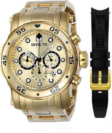 Relógio INVICTA 23652 Pro Diver Banhado a Ouro 18k Pulseira Dupla Troca Fácil
