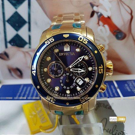 Relógio Invicta 21923 Pro Diver Masculino Banhado a Ouro 18k  Mostrador Azul Cronógrafo