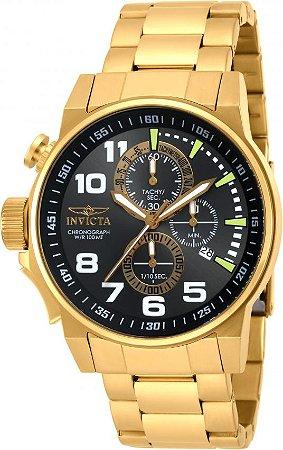 Relógio Invicta I-Force 17416 Masculino Banhado a Ouro 18k  Mostrador Grafite Cronógrafo