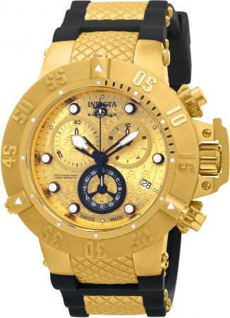 da376aeffb3 Relógio Invicta 15802 Subaqua Noma 3 Masculino Mostrador Dourado  texturizado Cronógrafo Suíço