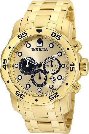 cc7e07db95b Relógio INVICTA 24850 Pro Diver Banhado a Ouro 18kt Cronógrafo Mostrador  Dourado