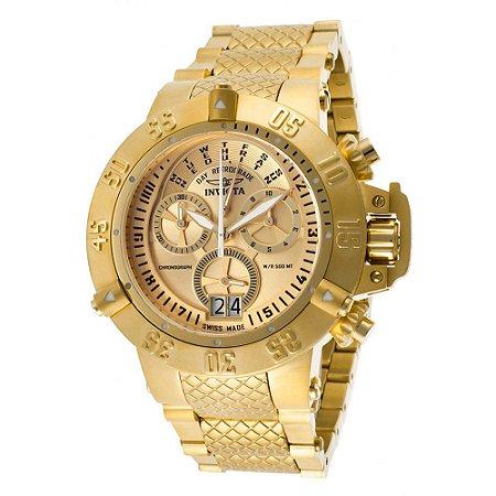 8a7ead0d96b Relógio Invicta 17615 Subaqua Noma 3 Masculino Mostrador Dourado Banhado a Ouro  18k Cronógrafo Suíço
