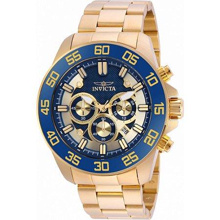 37bad7d625d Relógio Invicta 24727 Pro Diver Slim Masculino Banhado a Ouro 18k Azul  Cronógrafo