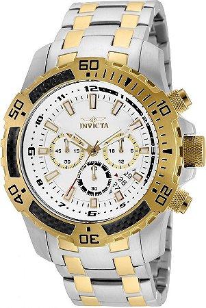 Relógio Invicta 24859 Pro Diver Masculino Misto Banhado a Ouro 18k  Mostrador Branco Cronógrafo