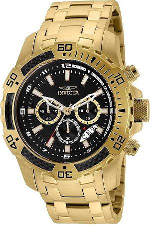 456623c11ad Relógio Invicta 24855 Pro Diver Masculino Banhado a Ouro 18k Mostrador  Preto Cronógrafo