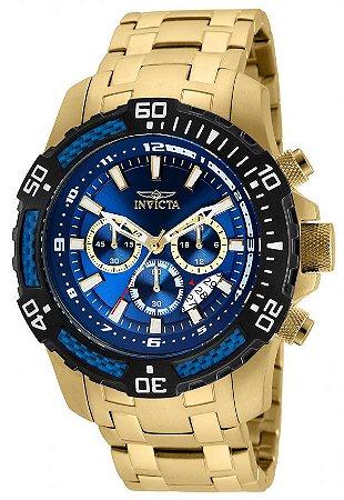 Relógio Invicta 24856 Pro Diver Masculino Banhado a Ouro 18k  Mostrador Azul Cronógrafo