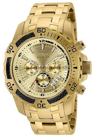 Relógio Invicta 24860 Pro Diver Masculino Banhado a Ouro 18k  Mostrador Dourado Cronógrafo