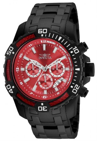 Relógio Invicta 24857 Pro Diver 51mm Masculino Preto Mostrador Vermelho Cronógrafo