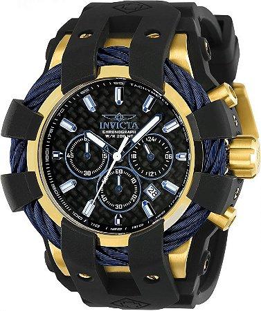 Relógio INVICTA 23862 Bolt Sport  48mm Banhado a Ouro 18k Mostrador em FIbra de Carbono cronógrafo