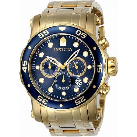 Relógio Invicta 23651 Pro Diver Banhado a Ouro 18k  Mostrador Azul Cronógrafo Troca Pulseira