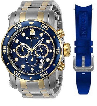 83c0848842 Relógio Invicta 23668 Pro Diver Misto Prata e Banhado a Ouro Mostrador Azul  Cronógrafo Troca Pulseira