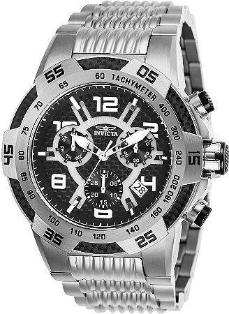 Relógio Invicta 25285 Speedway Prata Mostrador Preto Texturizado Cronografo Suíço