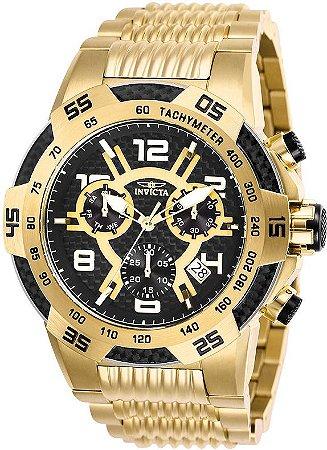 Relógio Invicta 25286 Speedway Banhado a Ouro 18k Mostrador Preto Texturizado Cronografo Suíço