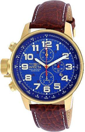 fd2b2b62d48 Relógio Invicta 90067 I-Force Mostrador Azul Banhado a Ouro 18k Pulseira em Couro  Cronógrafo