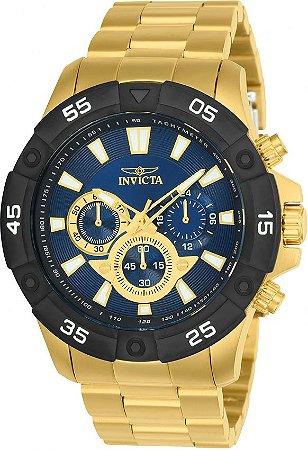 Relógio Invicta 24585 Pro Diver Slim Masculino Banhado a Ouro 18k  Mostrador Azul Cronógrafo