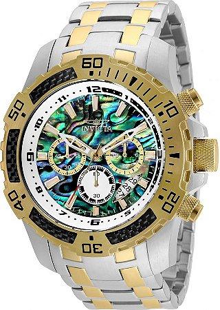 Relógio Invicta 25093 Pro Diver Masculino Banho Misto Prata Ouro 18k Mostrador Multicor Cronógrafo