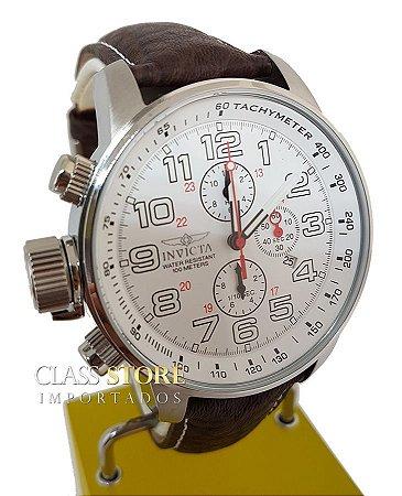 Relógio Invicta 2771 I-Force Masculino Mostrador Branco Cronógrafo Pulseira em Couro Braço Direito