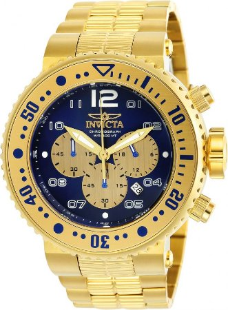 Relógio Invicta  25077 Pro Diver 52mm Banhado a Ouro 18k Cronógrafo Mostrador Azul