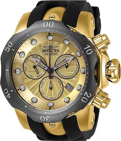 bc27239e98f Relógio Invicta Venom 24258 Banhado a Ouro 18k Mostrador Dourado  Texturizado Cronógrafo Calendário Duplo