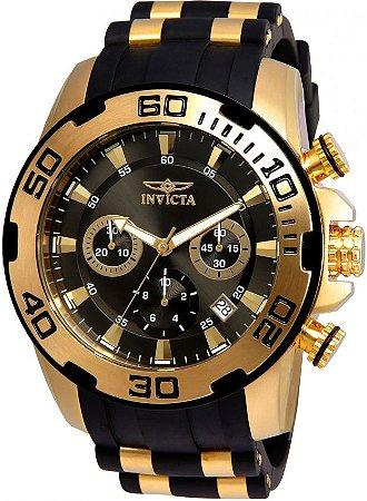 Relógio Invicta 22344 Pro Diver Banhado a Ouro 18k Cronógrafo Mostrador Preto 50mm