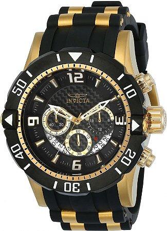 981c124566b Relógio Invicta 23702 Pro Diver Masculino Banhado a Ouro 18k Mostrador  Preto Cronógrafo
