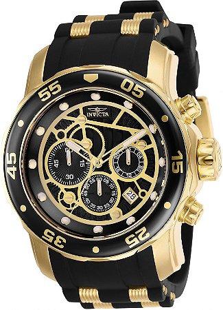 Relógio Invicta 25710 Pro Diver Banho a Ouro 18k Cronógrafo Mostrador Preto