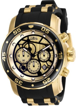 3af057cb085 Relógio Invicta 25709 Pro Diver Banho a Ouro 18k Cronógrafo Mostrador  Amarelo