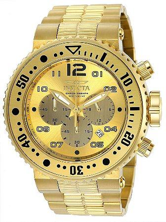 Relógio Invicta 25076 Pro Diver 52mm Banhado a Ouro 18k Cronógrafo 500 Metros Resistente a Àgua
