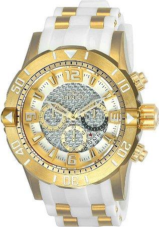 Relógio Invicta 23699 Pro Diver 50mm Mostrador Branco Texturizado Cronógrafo Calibre VD53