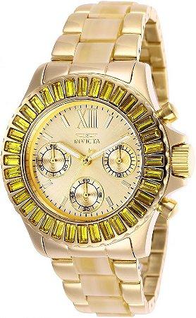 Relogio invicta 17492 Angel 38mm Feminino Banhado a Ouro 18k Mostrador Dourado Resistente a água 100m