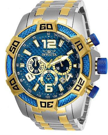 d791a02f36 Relógio Invicta 25855 Pro Diver 50mm Prata e Dourado Mostrador Azul  Texturizado Cronógrafo