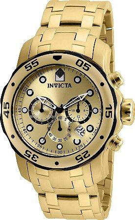 Relógio Invicta 80070 Pro Diver 48mm Banhado a Ouro 18k Cronógrafo