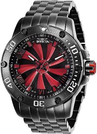 Relógio Invicta 25849 Speedway  49mm Automático Preto Metálico Mostrador Vermelho Turbina