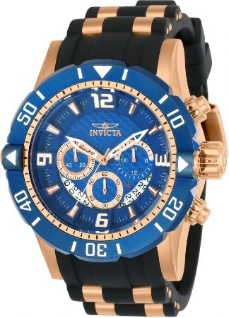 Relógio Invicta 23713 Pro Diver 50mm Banhado a Ouro Rosê Mostrador Azul Texturizado Cronógrafo