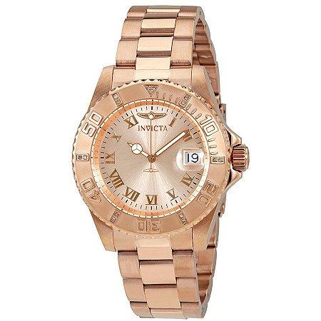 487dd937465 Relogio invicta 12821 Pro Diver 40mm Feminino Banhado a Ouro Rosê Mostrador  Rosa Resistente a água