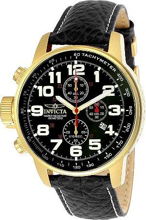 Relógio Invicta I-Force 3330 Masculino 46mm Banhado a Ouro 18k Pulseira em Couro Cronógrafo