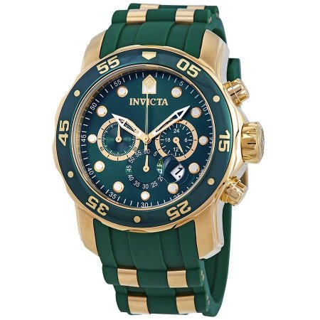 Relógio Invicta 18196 Pro Diver Masculino 48mm Banhado a Ouro 18k Mostrador Verde Cronógrafo Lançamento