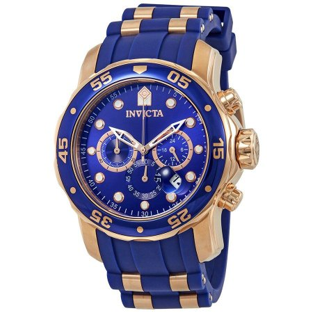 Relógio Invicta 18197 Pro Diver Masculino 48mm Banhado a Ouro Rosê Mostrador Azul Cronógrafo