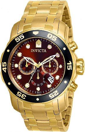 Relógio Invicta 80065 Pro Diver 2018 Masculino 48mm Banhado a Ouro Mostrador Castanho Cronógrafo