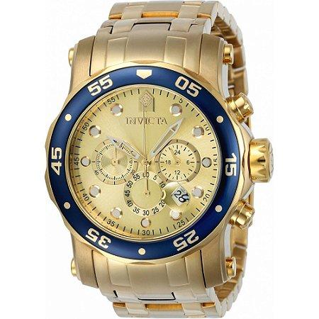 Relógio Invicta 23669 Pro Diver 48mm Banhado a Ouro 18k Mostrador Dourado Cronógrafo Troca Pulseira Azul