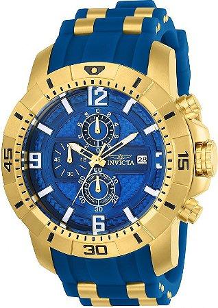 Relógio Invicta 24966 Pro Diver Masculino 50mm Banhado a Ouro Mostrador Azul em Fibra de Vidro Cronógrafo