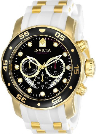 Relógio INVICTA 20289 Pro Diver 48mm Banhado a Ouro 18k Mostrador Preto Cronógrafo Branco