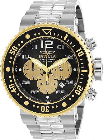 Relógio Invicta  25075 Pro Diver 52mm Prata Cronógrafo Mostrador Preto